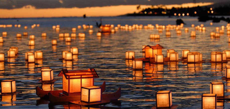 Lanterns floating on water