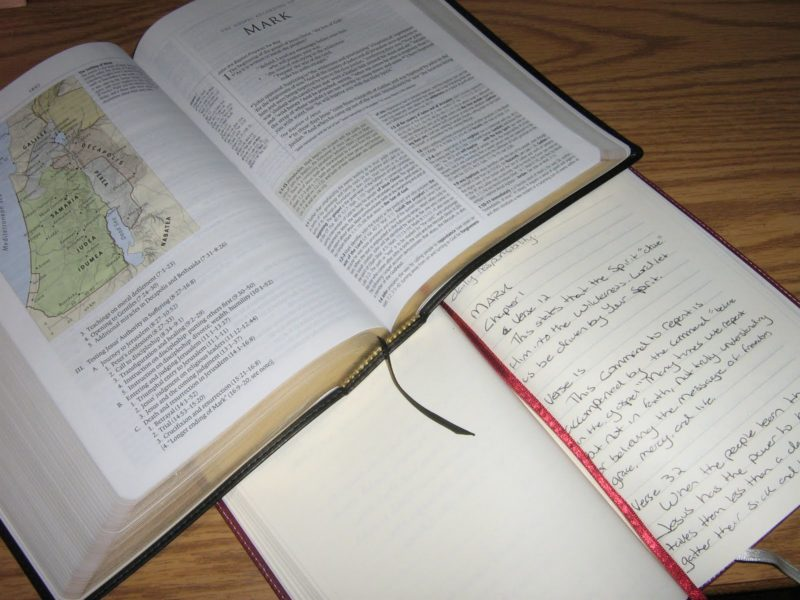 Bible and notebook