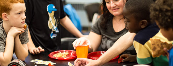 Children and adults at St. John's Games Night