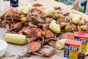 Steamed Crabs, corn, and Old Bay