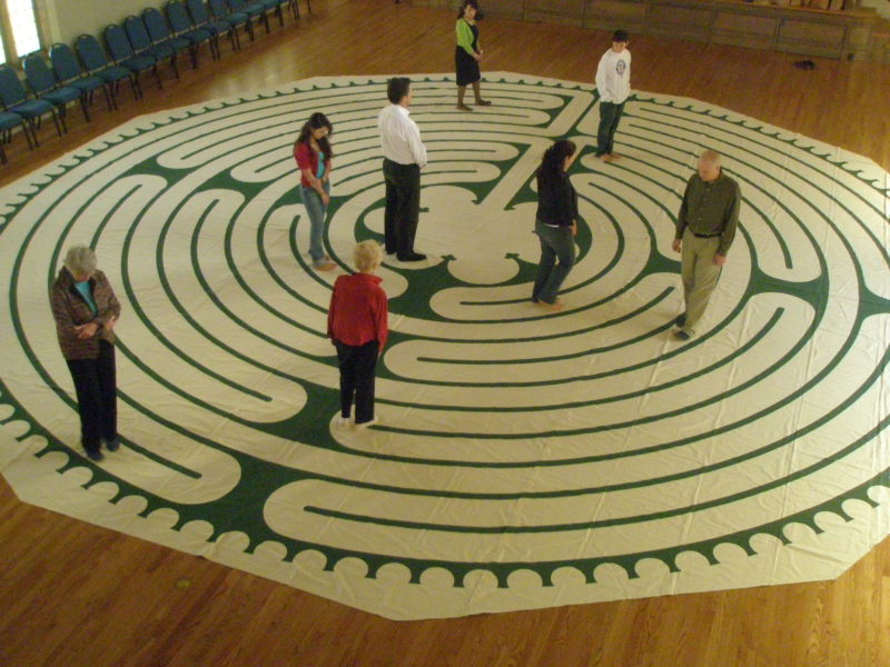 People walking a labyrinth