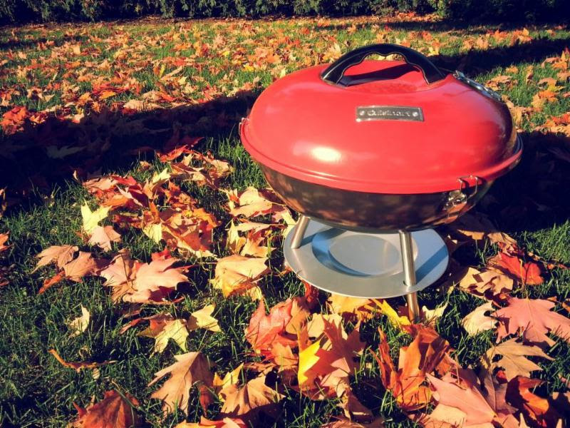 Red grill with fall leaves