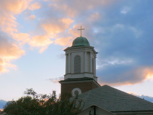 Photo of the St. John's Tower against a sunset backdrop