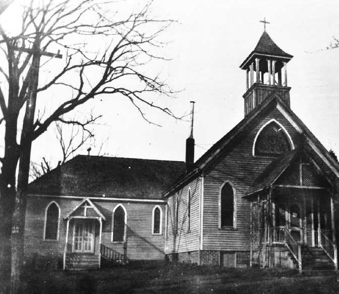 Photo of the original 1874 wooden St. John's church building
