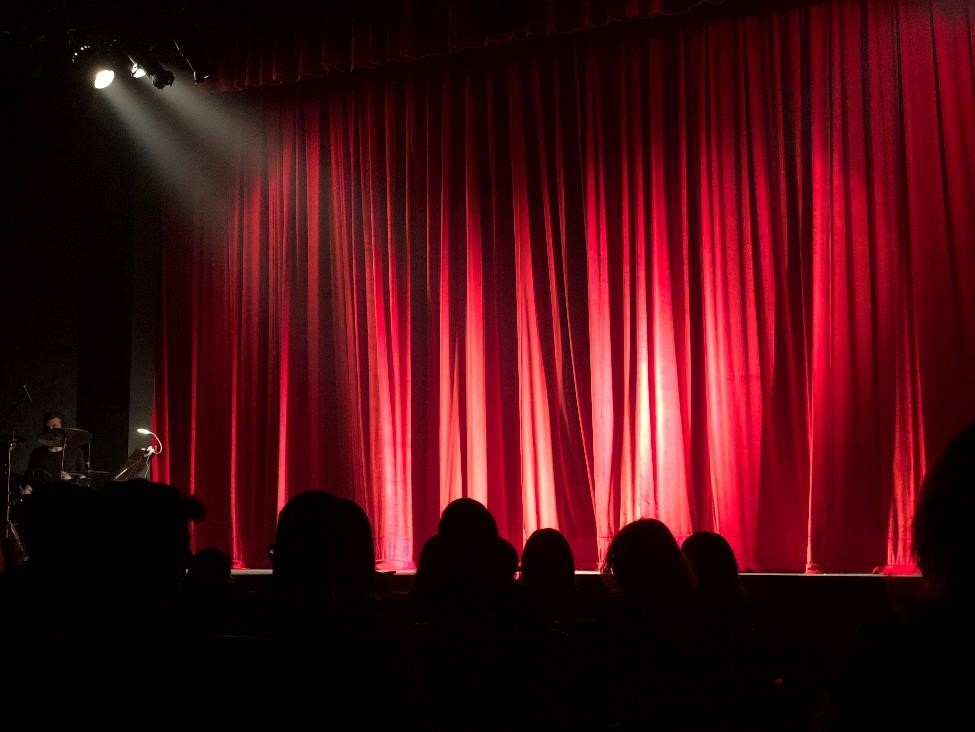 Red curtain with stage lights