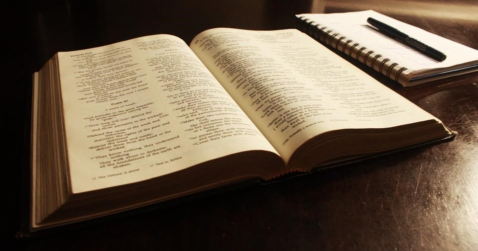 Open Bible and notebook