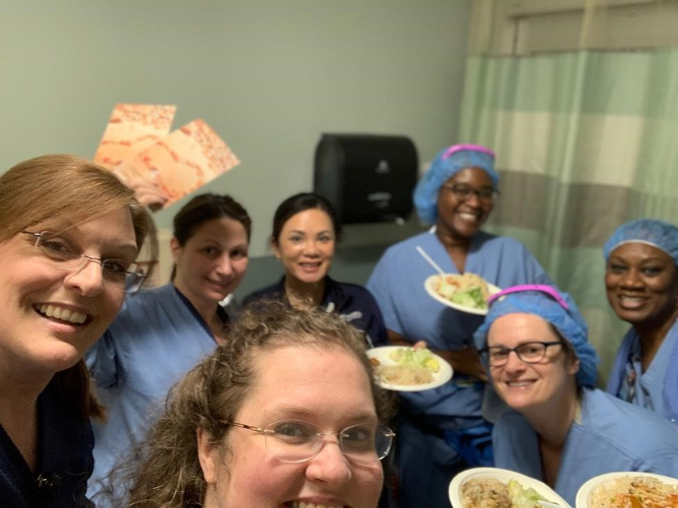 Suburban Hospital emergency room staff enjoying a hot meal