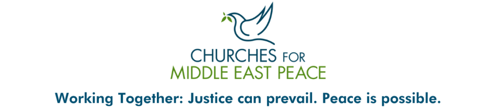 Churches for Middle East Peace logo. Working Together: Justice can prevail. Peace is possible.