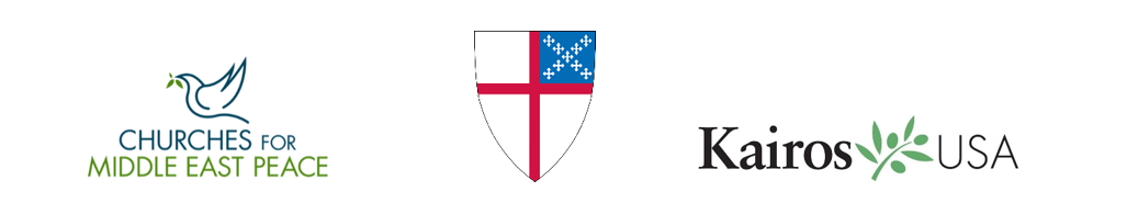 Churches for Middle East Peace, Episcopal Shield, and Kairos USA logos