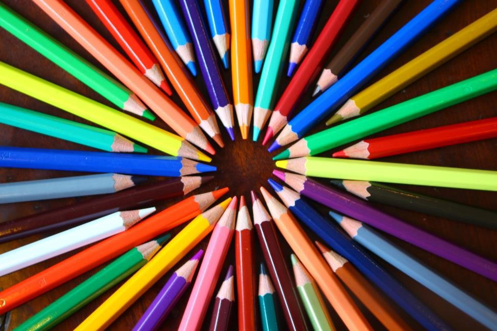 Colored Pencils in an artfully arranged circle